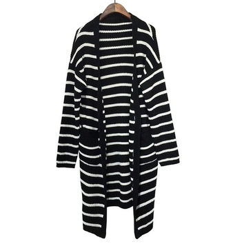 2015  Women Korean Style Autumn Winter Stripe Loose Long Thick Knitting Sweater Cardigan Jacket Coat = 1667742724