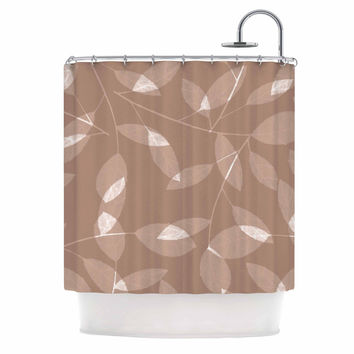 "Alison Coxon ""Leaf Tawny"" Brown Beige Shower Curtain"