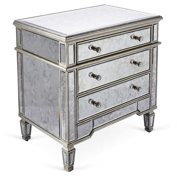 Mirrored 3 Drawer Cabinet, Silver, Cabinets & Hutches