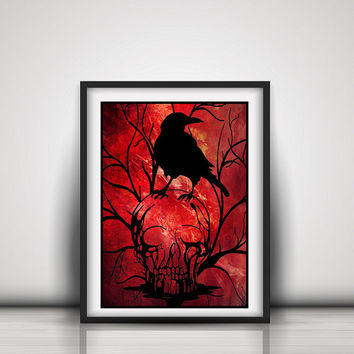 Raven And Skull - Gothic Home Decor - Skull Paper Cut Outs - Black Crow Skull - Halloween Decor - Gothic Wall Art - Pagan Altar Decor