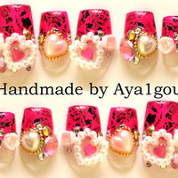 Decoden, Japanese nail art, hime gyaru, hot pink tips with gems  and hearts