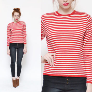 80s 90s NAUTICAL striped fitted sweater top // wool red white pinstriped preppy sailor minimal mod basic FALL jumper shirt