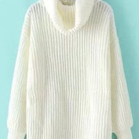 White Turtleneck Candy Color Long Sleeve Pullover Sweater