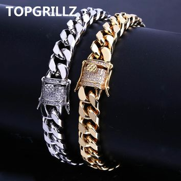 TOPGRILLZ New Style Fashion Gold/Silver Color Micro Pave CZ Stone Bracelet 11mm Width Link Chain Bracelets Hip Hop Jewelry Gift