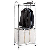 Chrome Laundry Center w/ Canvas Sorter, Laundry Hampers