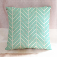 Mint green herringbone chevron pillowcases decorative throw pillow cover (Size: 18 inch, Color: Mint green)