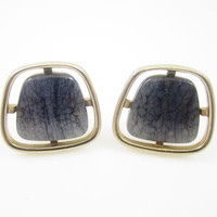 Vintage Cufflinks Lavender Swirl Glass Art Glass Cuff Links Mens Jewelry Gifts for Men Signed Hickok
