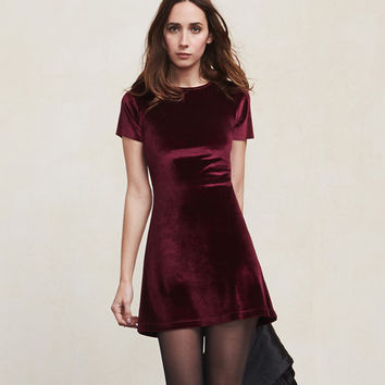 Velvet Slim Office Pencil Short Sleeve A Line Mini Dress