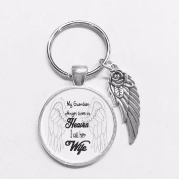 Wife My Guardian Angel Lives In Heaven Wing In Memory Keychain