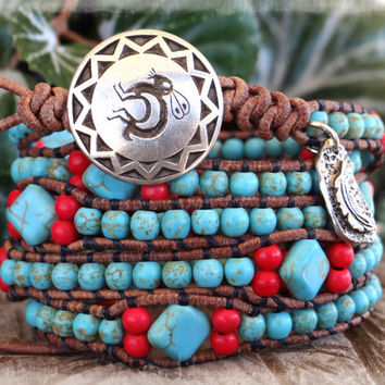 Native American, Turquoise Bracelet, Southwestern Jewelry, Wrap Bracelet, Leather Bracelet, Tribal Bracelet, Indian Jewelry.