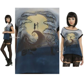 Licensed cool Disney The Nightmare Before Christmas Jack & Sally Chiffon Hi-Lo Top Blouse Tee