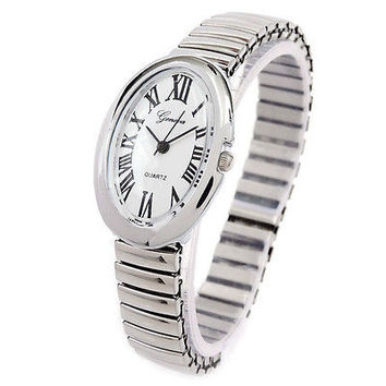 Silver Oval Face Petite Stretch Band Women's Watch