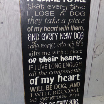 It Came To Me That Every Time I Lose A Dog-Pet Lover-Painted Wood Sign-Typography-Custom Colors
