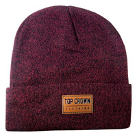 Men's and Women Winter Emboss Leather Style Patch 100% Acrylic Cuffed Beanie - Heather Grey - Burgundy - 2 Colors - One Size