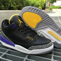 Nike Jordan Air Jordan 3 Retro Black/Purple/Yellow Leather Basketball Shoe