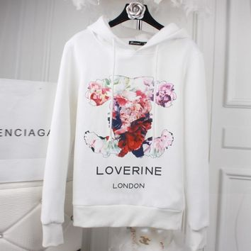 Chanel Fashion flower print big size loose type pullovers thick sweater White