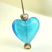 Blue Glass Lampwork Metal Heart Bead Charms 20mm and 6mm | BeadSouk - Jewelry Supplies on ArtFire