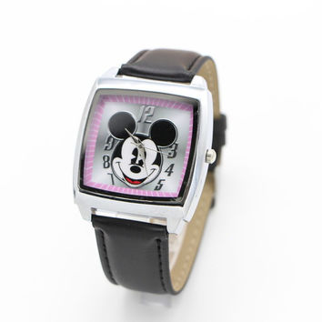 Unisex Minnie Mickey Mouse Style Dial Leather Quartz Watches