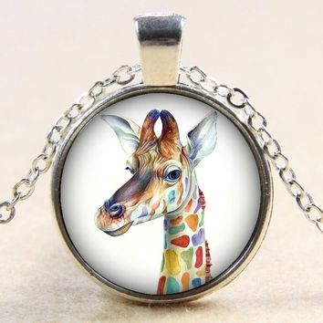 Hot sale Beauty Lovely giraffe&swan&rabbits&Flamingo 25MM glass cabochon necklace DIY Silver&Bronze&Crystal necklace 60cm