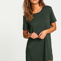 OLIVE PENCIL STRIPES JERSEY DRESS