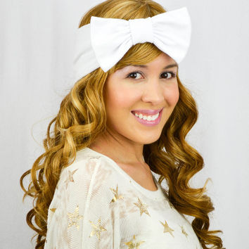 Turban Bow WHITE Head wrap Stretchy headband Bohemian Headwrap wide headband WHITE headband bow slip on headband white turban bow cute