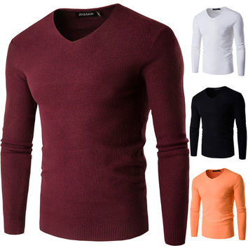 Mens Slim Fine V-Neck Sweater