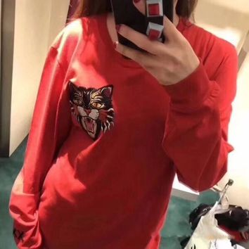 GUCCI HOT SALE Round neck letters Embroidery loose long sleeve sweater