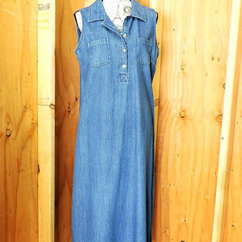 Denim maxi dress size L /  long loose fit jean dress / sleeveless cotton denim dress