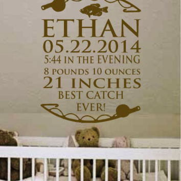 "18"" X 23"" Personalized Baby Birth Name Date Fishing Vinyl Wall Art Decal for Nursery.  Great Gift"