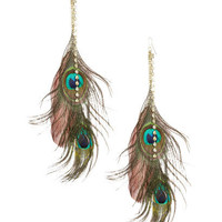 Peacock Feather Rhinestone Earring | Shop Accessories at Wet Seal