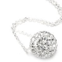 .925 Sterling Silver Crystals Ball Pendant Necklace,18""