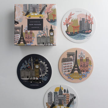 Cities Paper Cocktail Coaster Set
