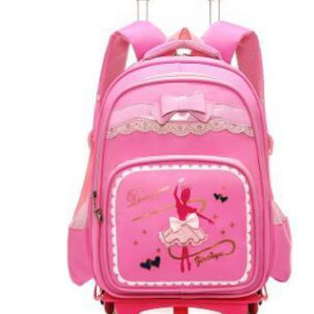 School Backpack School bag wheels for Kids Wheeled Backpacks Children Backpack on wheels Student Rolling Backpack For girls Travel Rolling bags AT_48_3