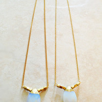 One Faceted Translucent Milky Moonstone Opalite / Dipped Gold / Simple / Bridal / Gold Chain Necklace > One of a  kind Shipping U.S.