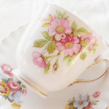 Vintage Mismatched Footed Tea Cup and Saucer Set, Tea Party, Cottage Style, Royal Albert, Duchess, English Bone China
