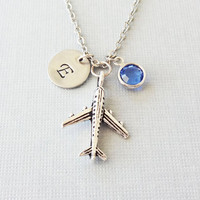 Airplane Necklace, Jet Plane, Pilot Gift, Aviation Jewelry, Silver Initial, Swarovski Birthstone,Personalized, Monogram, Hand Stamped Letter