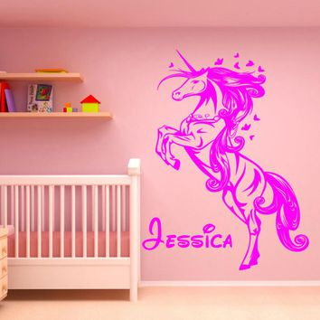 Personalised Unicorn Princess Fairytale Horse Name Wall Art Sticker Stencil Decal Girl Wall Stickers F820