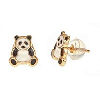 14K Solid Yellow Gold Earrings In A Unique Panda Design