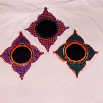Purple, Teal and Orange Fun Colorful Decorative Accent Moroccan Inspired Mirrors/Set of Three- FREE SHIPPING