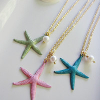 Colorful Starfish Necklace, Sage, Pink or Ocean Blue Starfish, Pearl Dangle, Ocean Jewelry, Beach Wedding