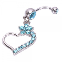 Blue Rhinestone Irregular Heart Shape Curved Barbells Navel Belly Button Ring