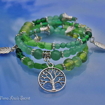 Green Tree of Life Bracelet, Memory Wire Bracelet, Different Shades of Green, Green Aventurine and Glass Bracelet, Mother's Day Bracelet