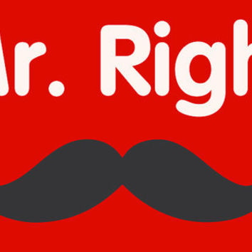 Mr. Right MUSTACHE T-Shirt for Guy  Boy Teenager. Shirt For Men College Student Relationship Couples Hands Canada shipping