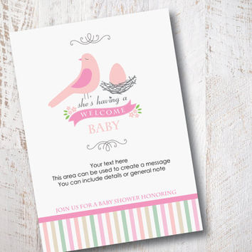 Pink Bird – Boy or Girl Baby Shower Invitation –Ready to print – Put your own text - Instant Download