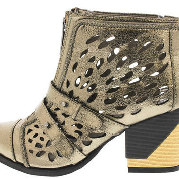 ANALIA GUNMETAL LASER CUT ANKLE BOOT
