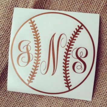 baseball car decal monogram decal monogram vinyl decal monogram gift monogram sticker car initials vinyl initials
