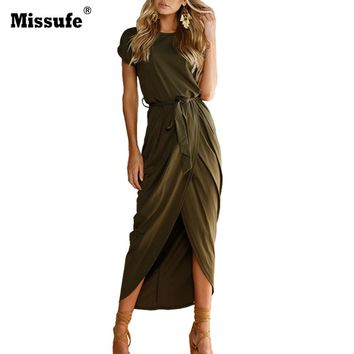 Missufe High Split Maxi Wrap Dress 2017 Summer Style Fashion Casual Outfit Sarafan Beach Women's Retro Long Dress