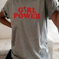"Grey ""Girl Power"" Rose Print Casual Going out T-Shirt"