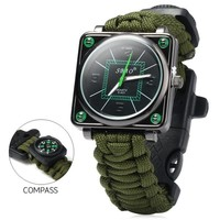 Outdoor Sport  Watch Survival Gear Escape Cord Emergency Survival Bracelet Wristwatch Rope Flint Whistle Scraper Buckle