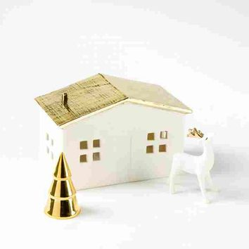 Illuminated House With Deer (Set of 3)
